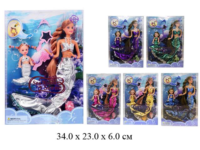 Кукла - русалка гнущ. (при нагреве волосы меняют цвет)+ пупсик + рыбка +  аксессуары (5 видов) в кор