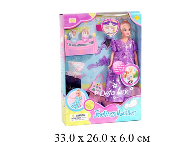 Кукла гнущ., беременная + 2 шт. пупсика + одежда + аксессуары (3 вида) в кор. Defa