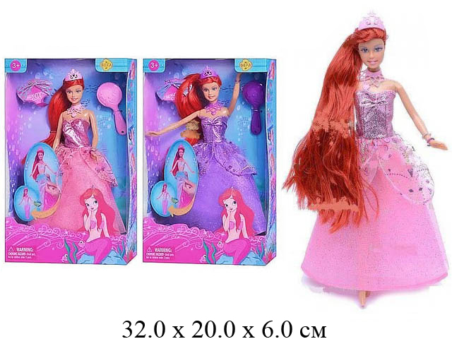 Кукла - русалка - принцесса гнущ. + расческа (2 вида) в кор. Defa