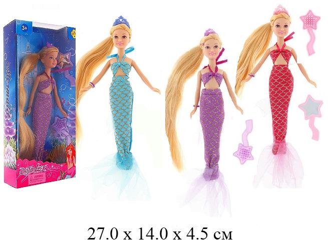 Кукла - русалка + аксессуары (3 вида) в кор. Defa