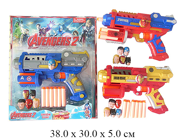 *Пистолет стрел. мягкими патронами + 6 шт. маска - мини (3 вида) на карт.