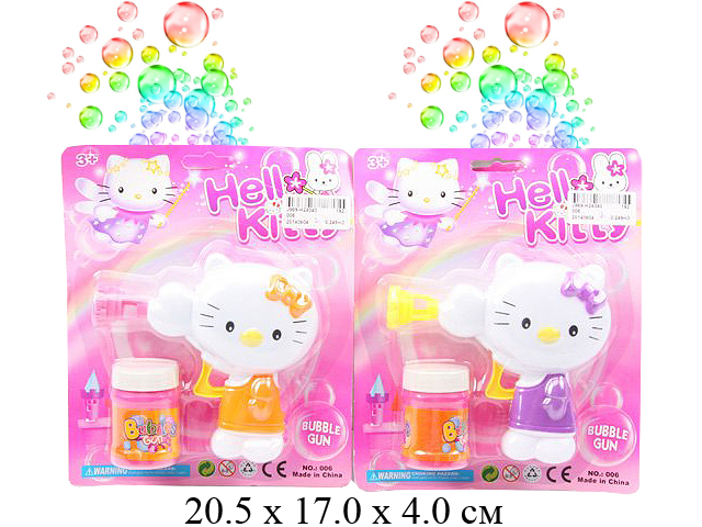 *Пистолет с мыльными пузырями - кошка  (2 цвета) на карт.