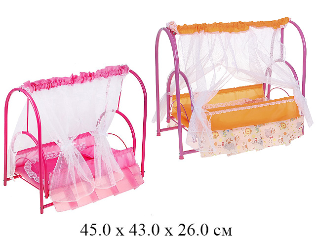 Кроватка для куклы металл., с балдахином (№3) в кор. (ИП Ясюкевич)