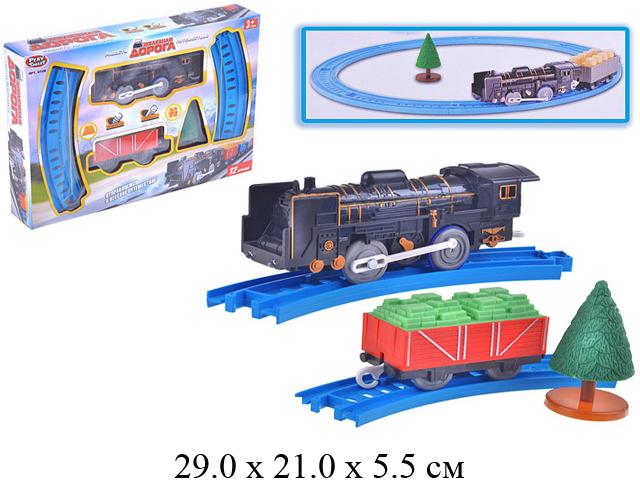 """""""Ж/д """"Железная дорога"""" (паровоз на бат. (свет, звук поезда),вагон) (12 дет.) в кор. Play Smart"""