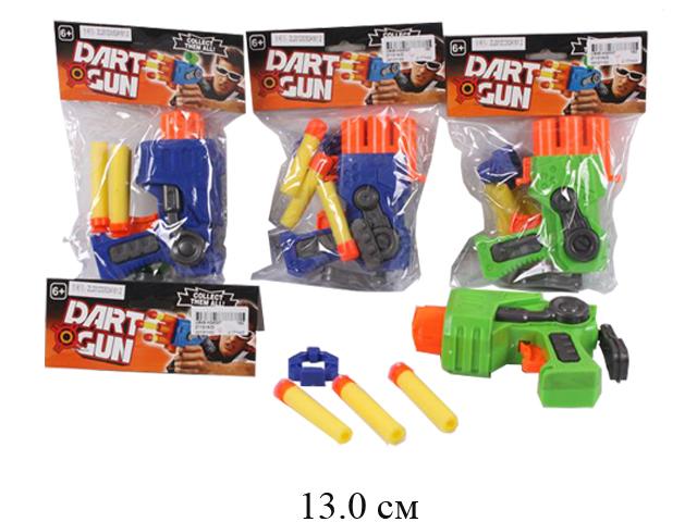 Пистолет стрел. присосками (2 цвета) в пак.