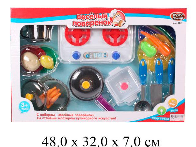"""**Н/посуды """"Веселый поваренок"""" с плитой на бат. (свет, звук) + продукты (15 предм.) в кор.Play Smart"""