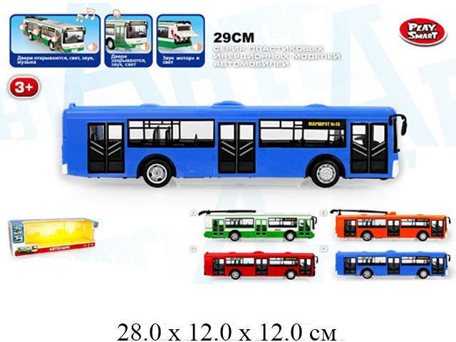 """Автобус """"Автопарк"""" 1 : 43 (свет, звук, музыка) в кор. Play Smart"""
