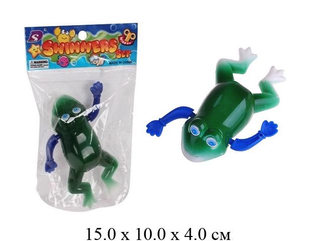 Игрушка в пак. д/малышей - лягушка завод.. водоплавающий (3 цвета).9903