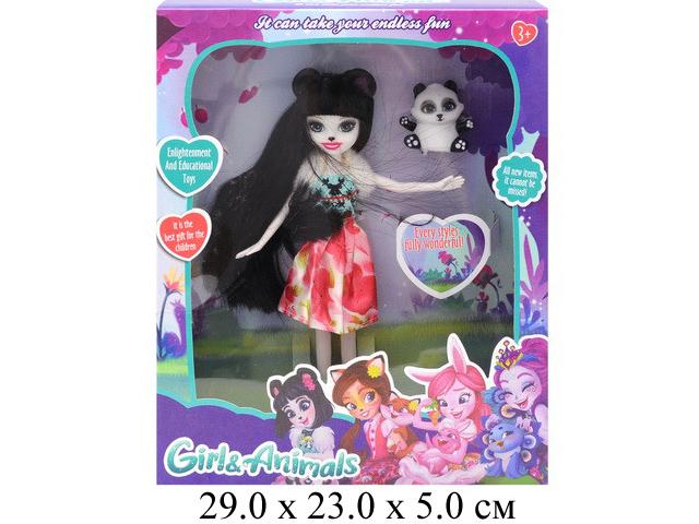 **Кукла гнущ. с  животным в кор.TM661-2A