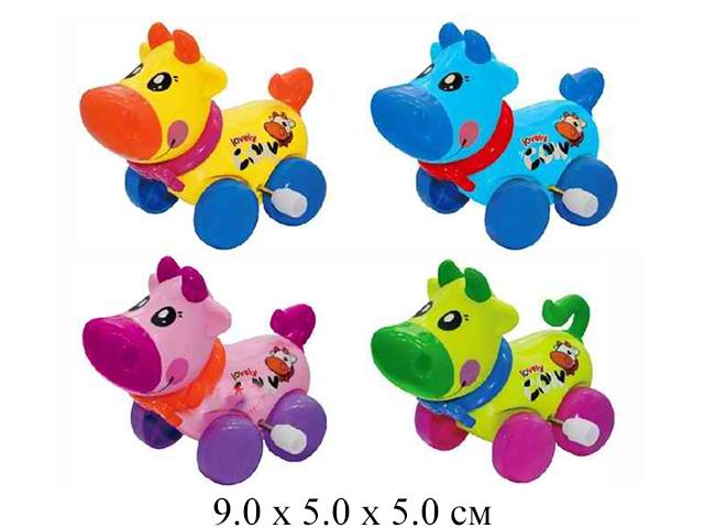 Игрушка в пак.для малышей - корова  заводн.  в  пак. 6 цвет.0996A