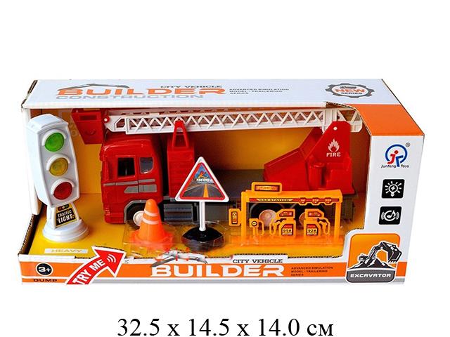 Машина пожарная + светофор свет,звук,10 мелодий  в кор.