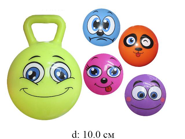 """Мяч с ручкой с погремушкой рис. животные  (6 видов) 6 цв ( роз,оранж,зел,син,фиолет,желт) 4"""""""