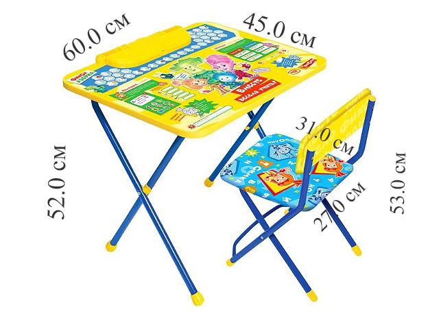 """Комплект  детский складной стол + стул мягк. моющ. Азбука  """"Фиксики"""" в кор. """"Ника"""""""